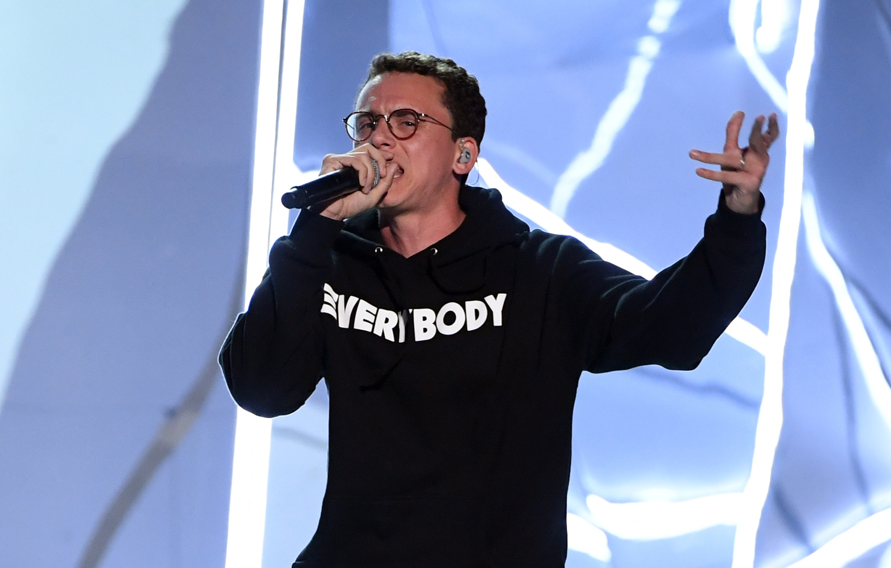 INGLEWOOD, CA - AUGUST 27: Logic performs onstage during the 2017 MTV Video Music Awards at The Forum on August 27, 2017 in Inglewood, California. (Photo by Kevin Winter/Getty Images)